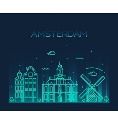 Amsterdam City skyline Trendy line art vector image