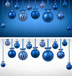 Arc background with blue christmas balls vector image