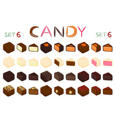 beautiful big set of colorful chocolate desserts vector image