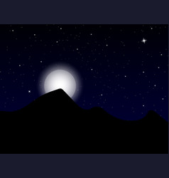 beautiful stars sky with mountains and full moon vector image