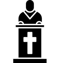 Black church pastor preaching icon isolated on vector