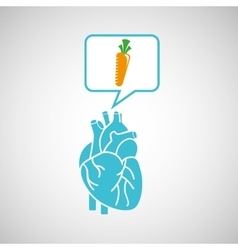 Blue heart fresh carrot icon graphic vector