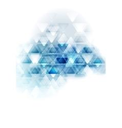 Blue white tech triangles design vector image