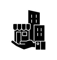 Building ownership black glyph icon vector