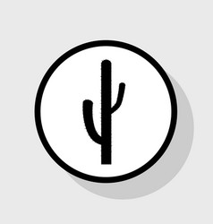 Cactus simple sign flat black icon in vector