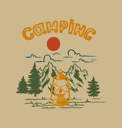 camping vintage mountain landscape with vector image