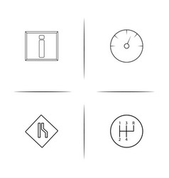 Cars and transportation simple linear icon set vector
