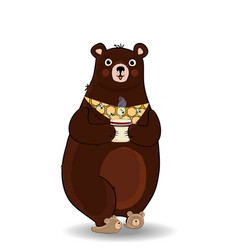 cartoon bear in slippers and necktie holding cup vector image