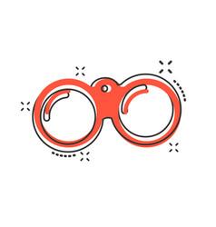 cartoon binocular icon in comic style binoculars vector image