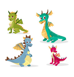 Cartoon dragons of funny fairy vector
