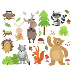 cartoon forest animals elk owl hare raccoon vector image