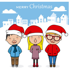 children singing christmas songs with santa hat vector image
