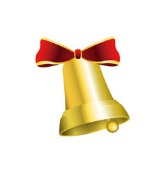 christmas bells decorated with red bow vector image