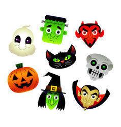 collection of cartoons of various halloween vector image