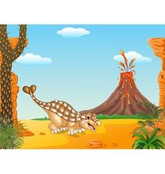 Cute ankylosaurus dinosaur character vector