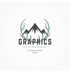 Deer Horns Hand Drawn Design Element in Vintage vector