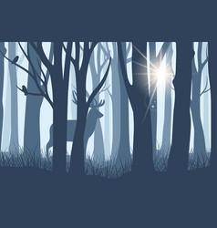 Deer in forest landscape vector