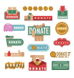 Donate buttons help icon vector