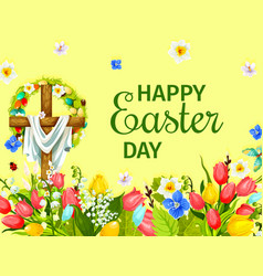 easter day greeting card with cross egg flower vector image