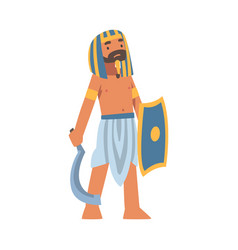 Egyptian man character with shield and blade vector