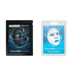 facial mask package realistic mockup set vector image