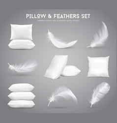 Feathers and pillows realistic set vector