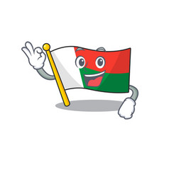 Flag madagascar cartoon with in okay character vector