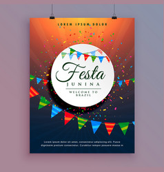 Flyer design for festa junina celebration event vector