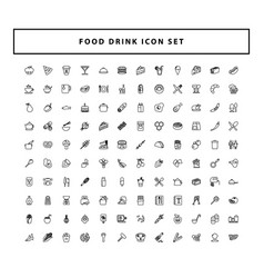 food and drink icons set with outline style design vector image