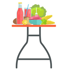 food and drinks on table cooking ingredients vector image