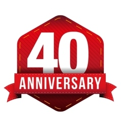 Fourty year anniversary badge with red ribbon vector