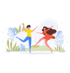 friends dance and joy together in casual wear vector image