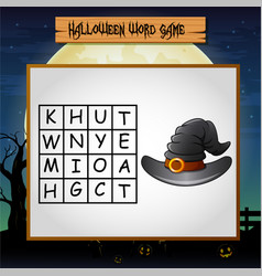 Game halloween find the word of witch hat vector