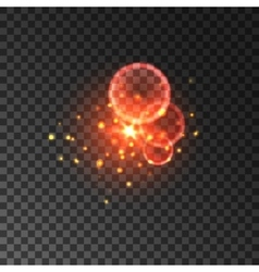 Glittering red sparkles with lens flare effect vector
