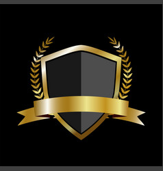 golden shield with laurel wreath and golden ribbon vector image