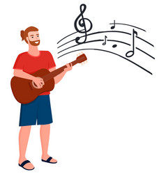guitar player map with sheet music notes vector image