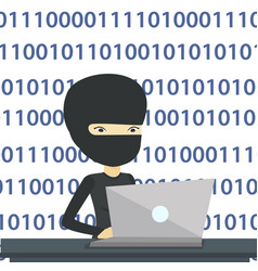 Hacker using laptop to steal information vector