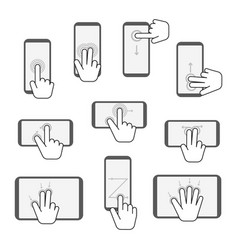 Hand touchscreen gestures device icon set vector