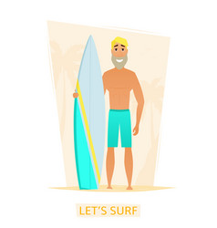 Handsome surfer with surf board on the beach vector