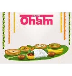 Happy Onam Food for hindu festival in Kerala vector image