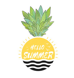 hello summer pineapple sun background image vector image