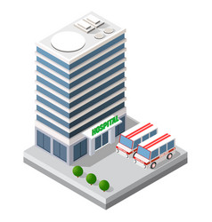 Hospital isometric 3d building health urban vector