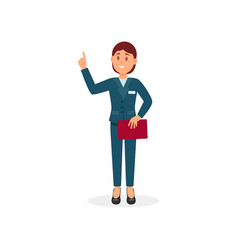 hotel administrator or reception manager with red vector image