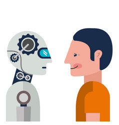 Humanoid robot and person profiles vector