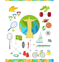 Icons Set Devoted to Summer Sport Games in Brazil vector