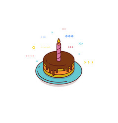 isometric birthday cake with candle vector image