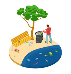 isometric man picks up trash on beach water vector image