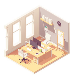 Isometric office room interior vector