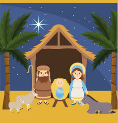 Joseph with mary and jesus in manger vector