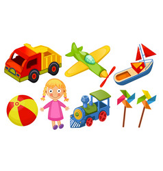 kids toys icons isolated on white background vector image